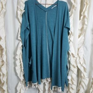 Easel knit open front cover-up jacket with tassels